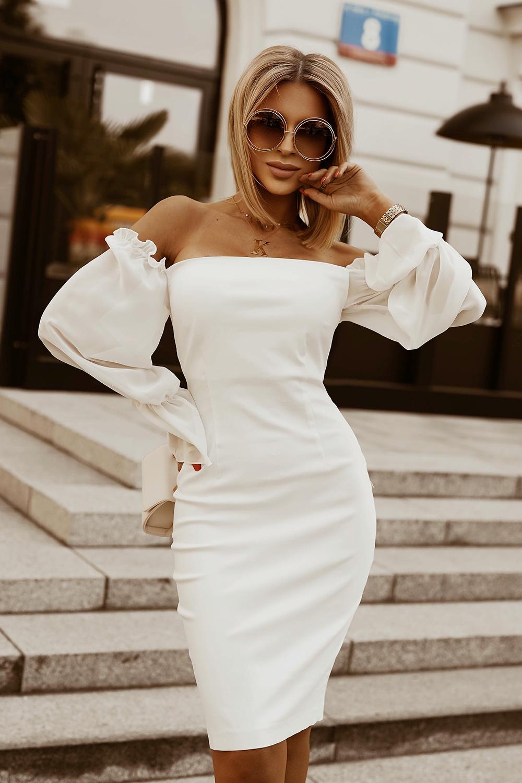 Šaty s hranatým výstřihem BICOTONE 2204-09 - BÍLÉ M Barva: Bílá, Velikost: M