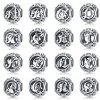 BAMOER Authentic 925 Sterling Silver Vintage A to T Clear CZ Alphabet Letter Beads Fit Charm 0