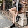 Kožené kotníkové boty sandále na nízkém podpatku s přezkou