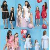 Set mini šatů máma dcerka s krátkým rukávem a volánky (18)