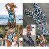 Krásné dámské plavky s potiskem a hlubokým véčkovým vystřihem (76)