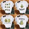 0 Kawaii Cartoon Avocado Short Sleeve T shirt Women Casual Avocado Graphic Tops Female Tee Summer Women — копия