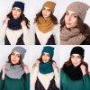 Zimní set šátek izolační proti chladu + čepice s copánkovým vzorem (1)