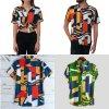 Unisex barevná košile s geometrickým vzorem vícebarevné kostky
