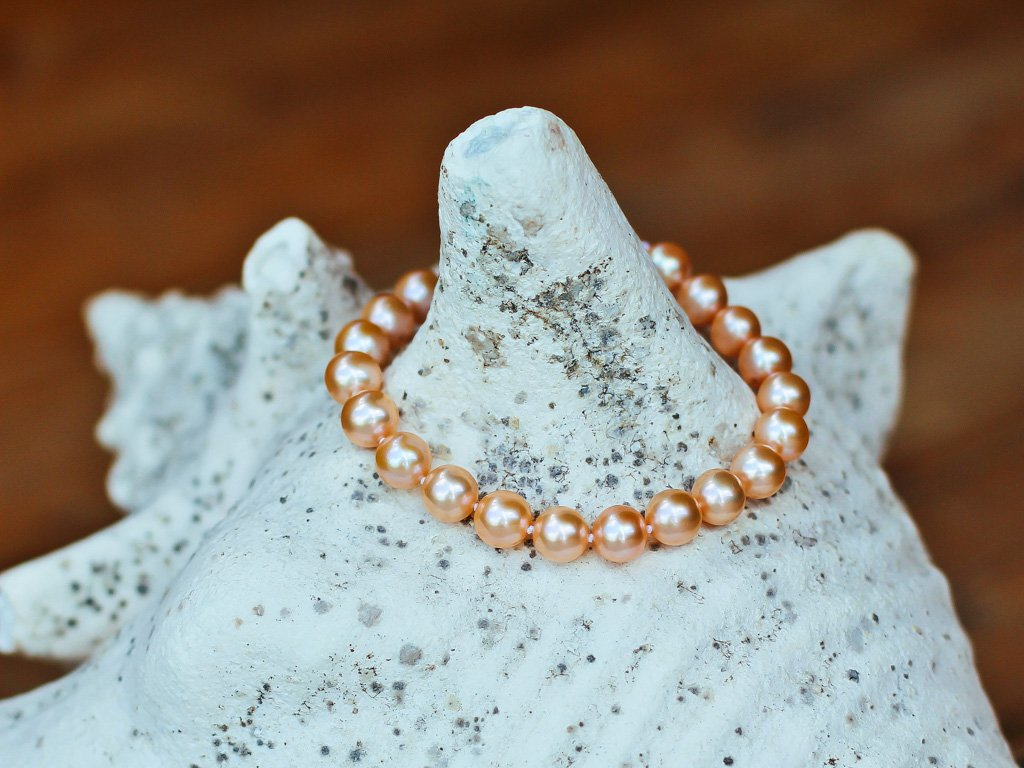 perlový náramek oranžový - lososový