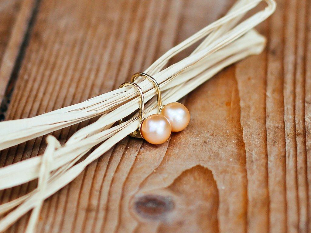 perlové náušnice oranžové - lososové