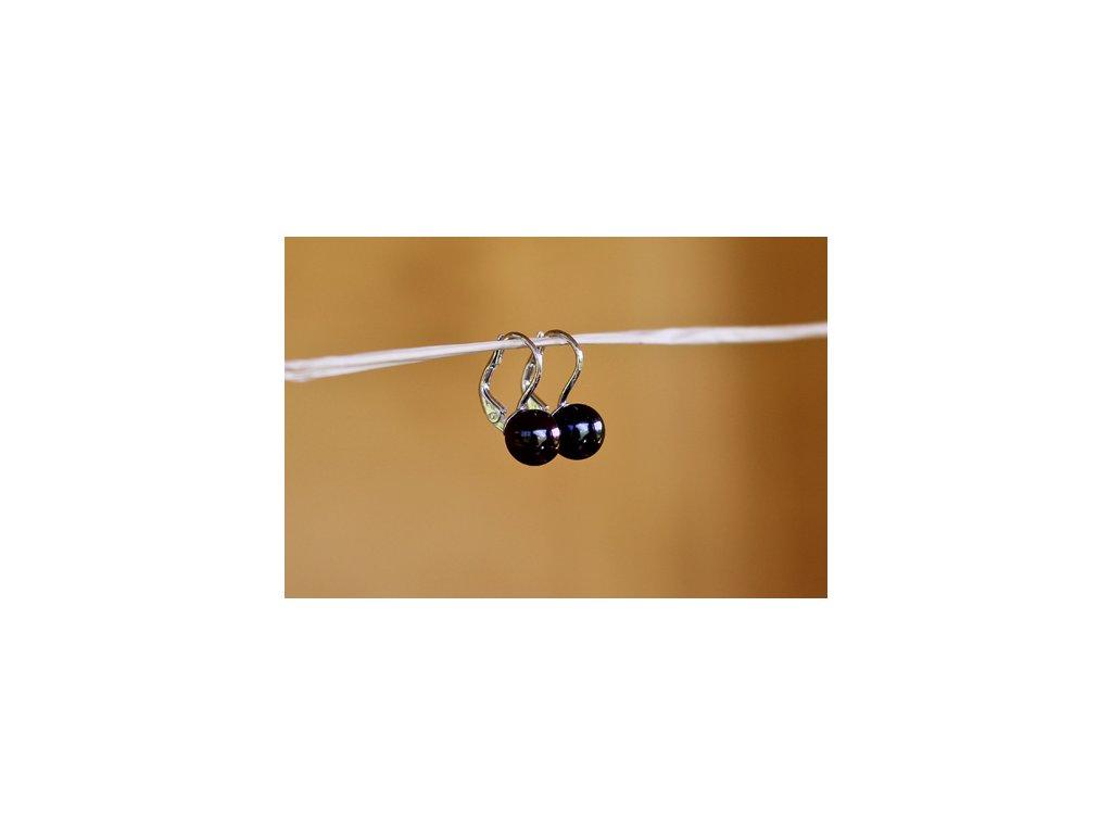 Perlové náušnice černé