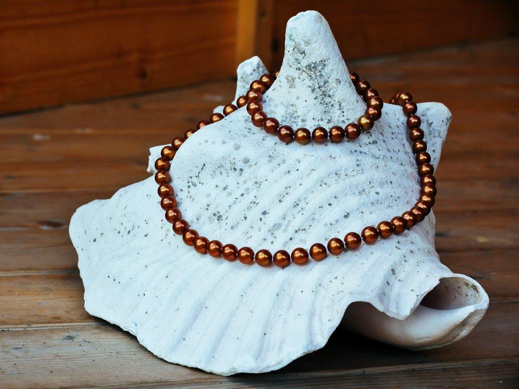 perlový náhrdelník světle hnědý 2