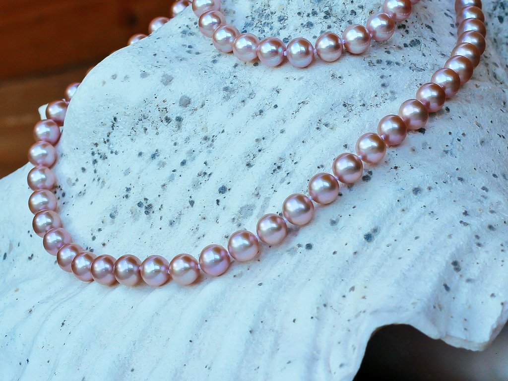 perlový náhrdelník růžový