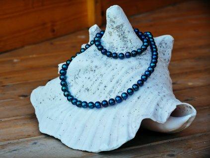 perlový náhrdelník černý 2