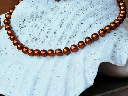 perlový náhrdelník světle hnědý