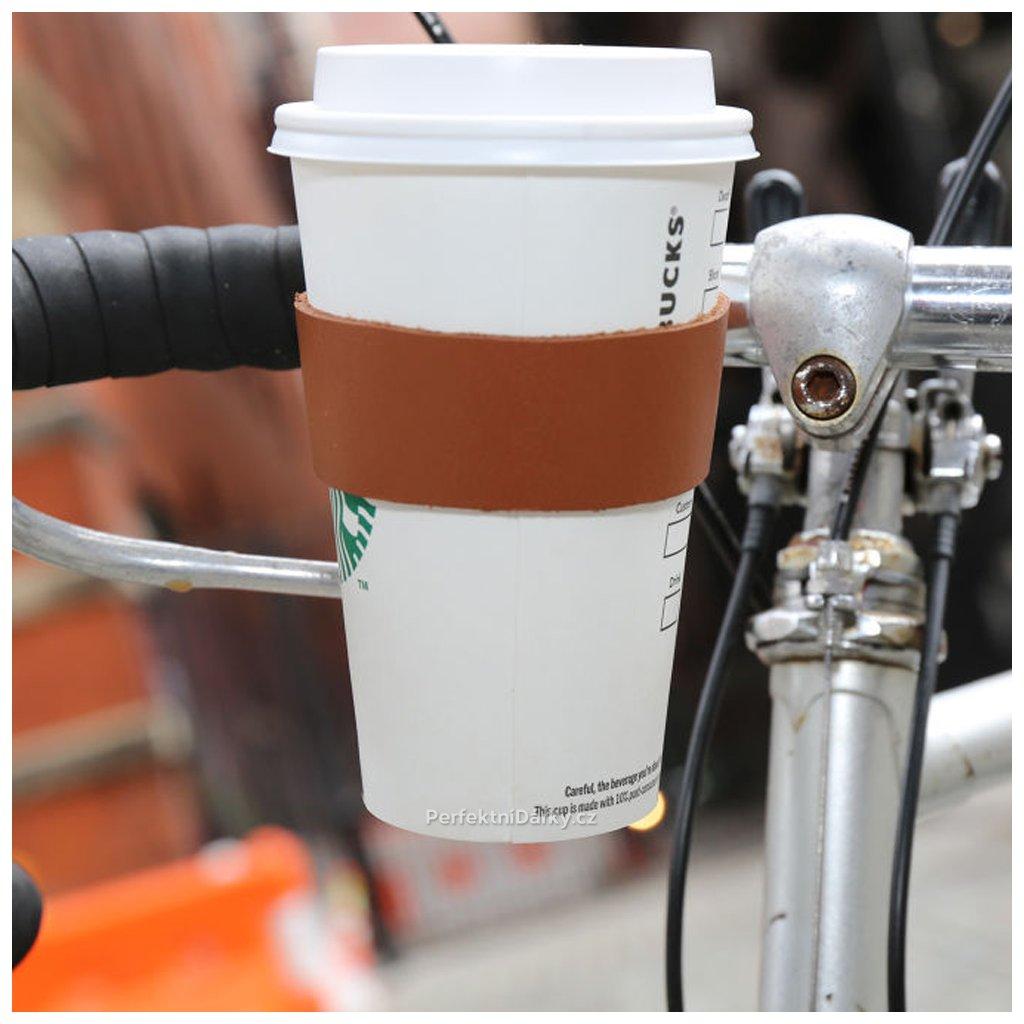 Držák kávy na kolo - kožený