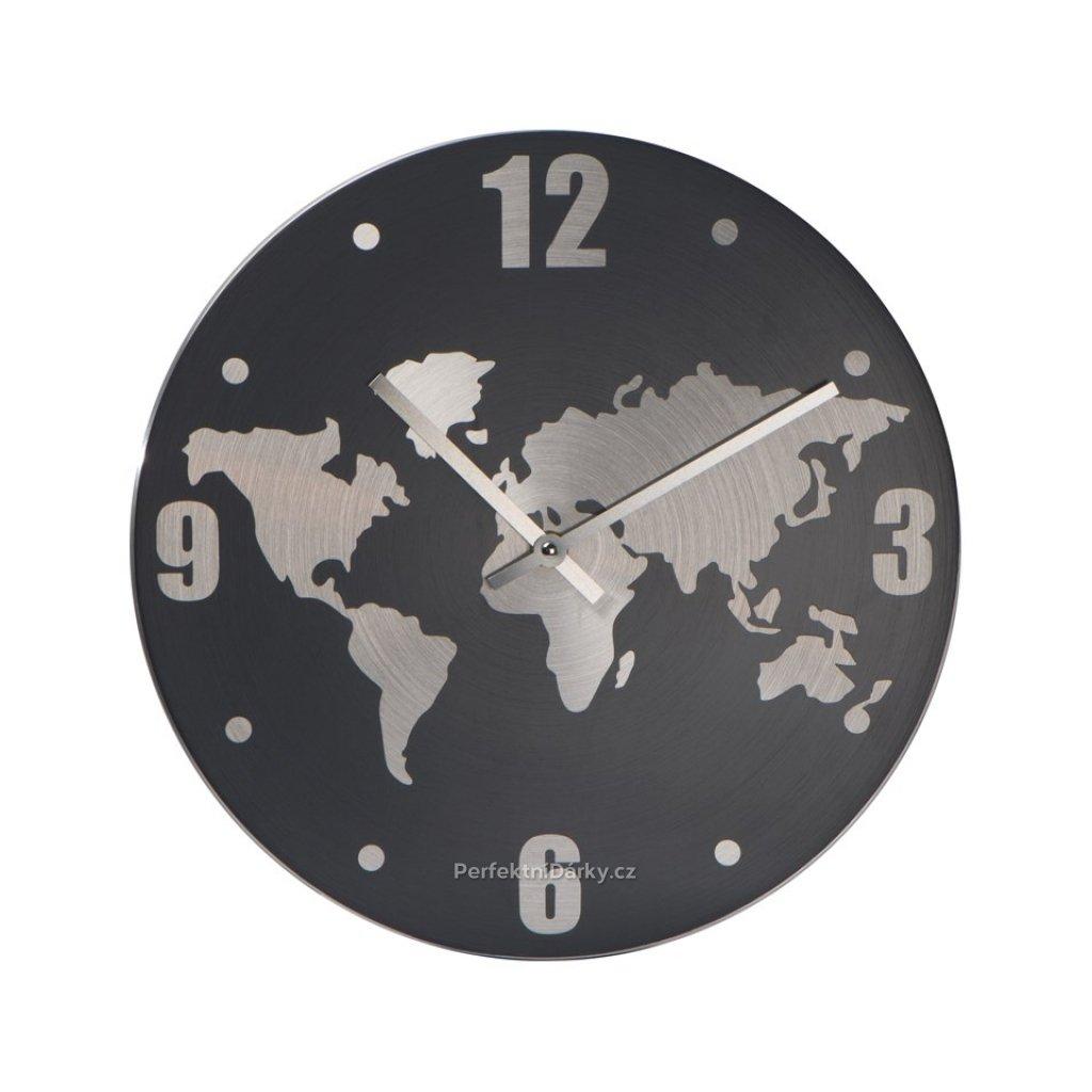 Nástěnné hodiny s mapou světa z hliníku