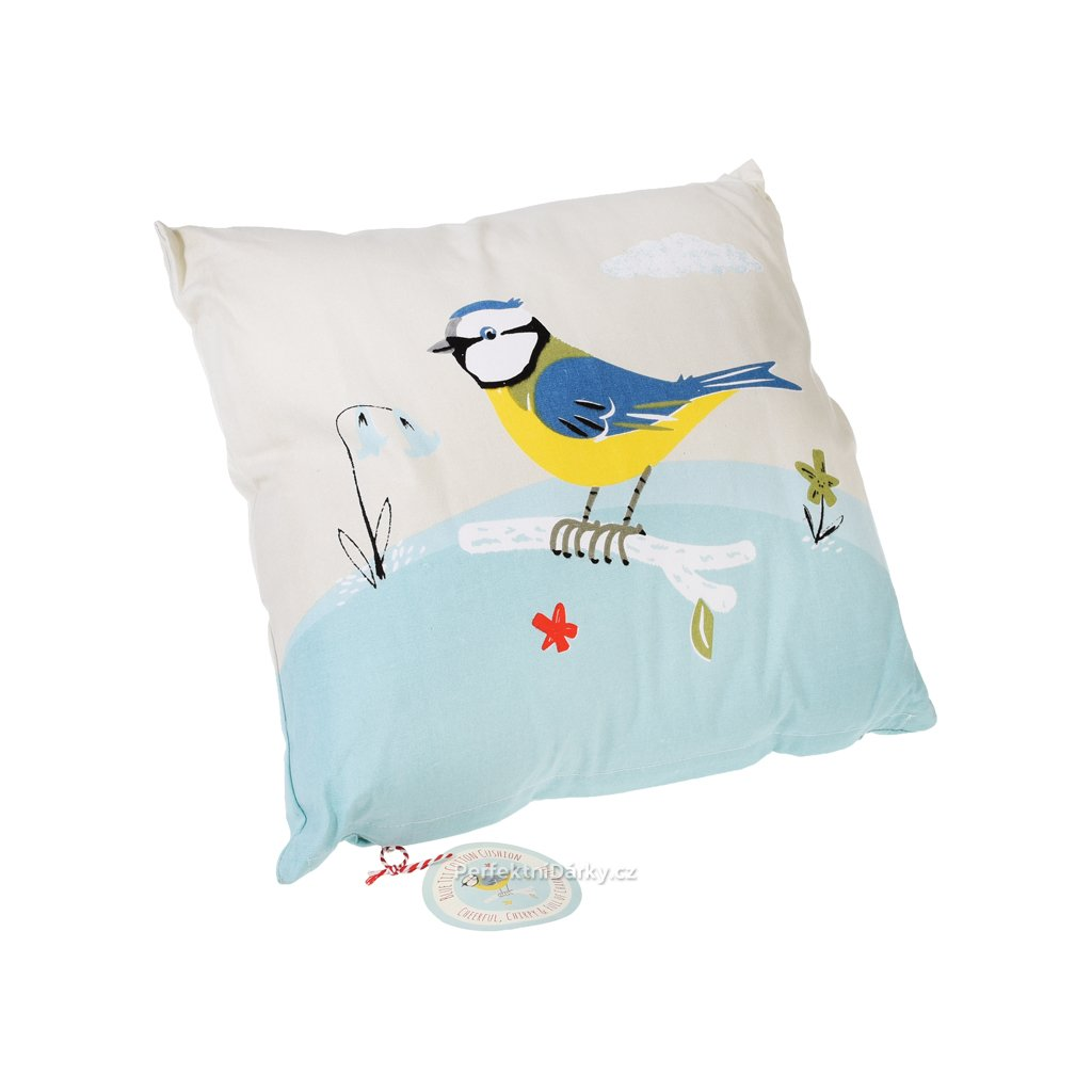 Polštář s výplní - modrý ptáček