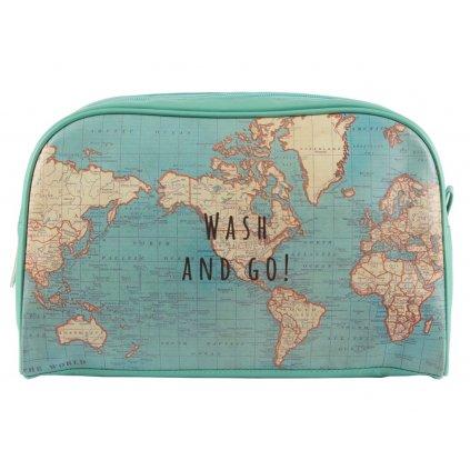 Toaletní taška s motivem mapy světa