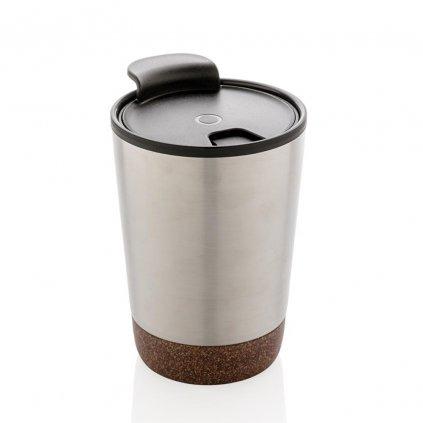 Termo hrnek na kávu s korkem | stříbrný
