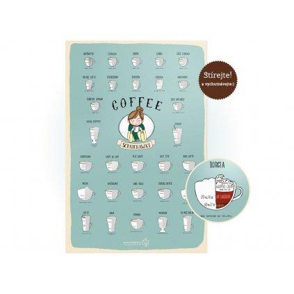 Stírací plakát kávy