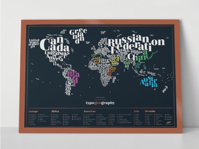 Stírací mapa světa - Typografická