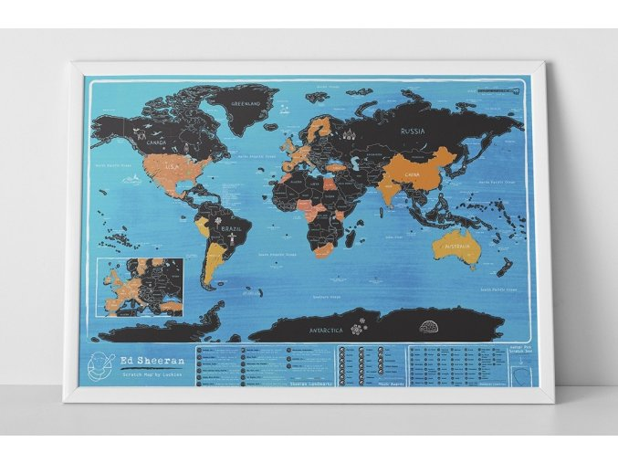 Stírací mapa světa - Ed Sheeran edice