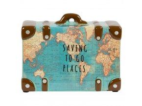 Keramická kasička ve tvaru kufru