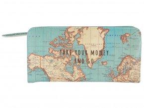 Peněženka s motivem mapy světa