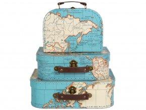 Sada 3 retro kufříků s motivem mapy světa