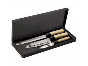 Sada 3 nožů s ocelovou čepelí v japonském stylu