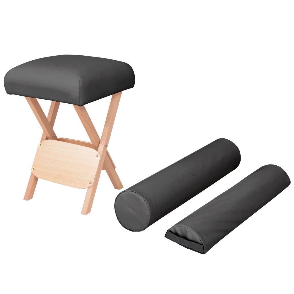 Skládací masážní stolička - 2 opěrky - 12 cm | černá