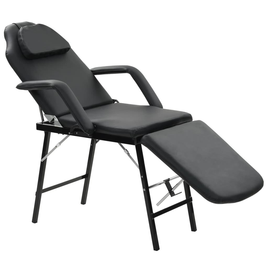 Přenosné kosmetické křeslo z umělé kůže - černé | 185x78x76 cm