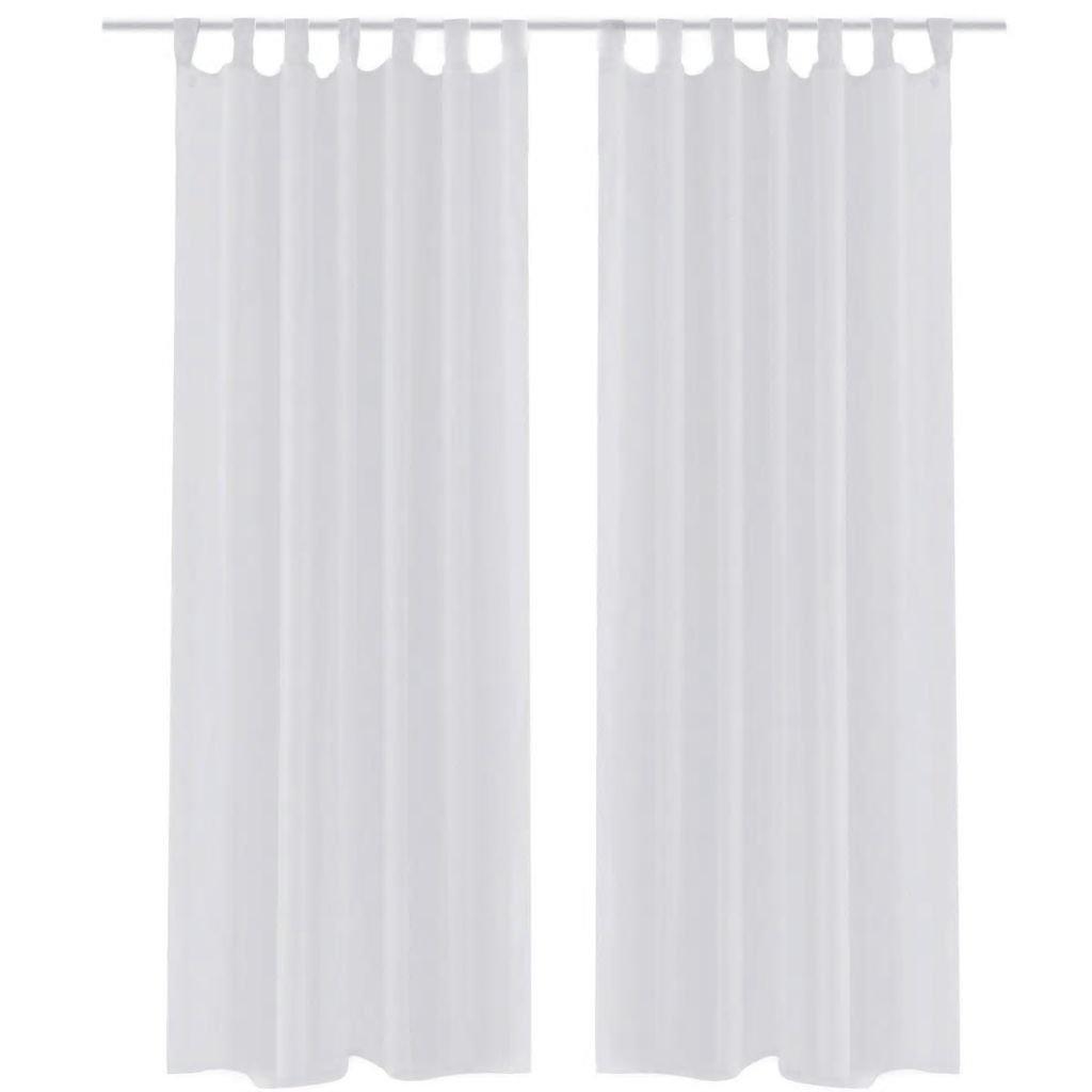 Bílé průsvitné závěsy - 2 ks | 140x245 cm