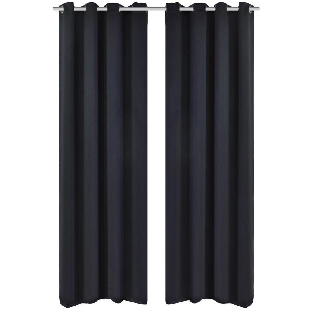 2 ks černé zatemňovací závěsy s kovovými kroužky | 135x245 cm