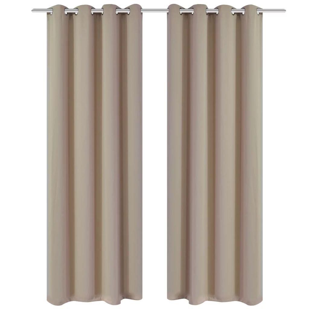 2 ks krémové zatemňovací závěsy s kovovými kroužky | 135x245 cm