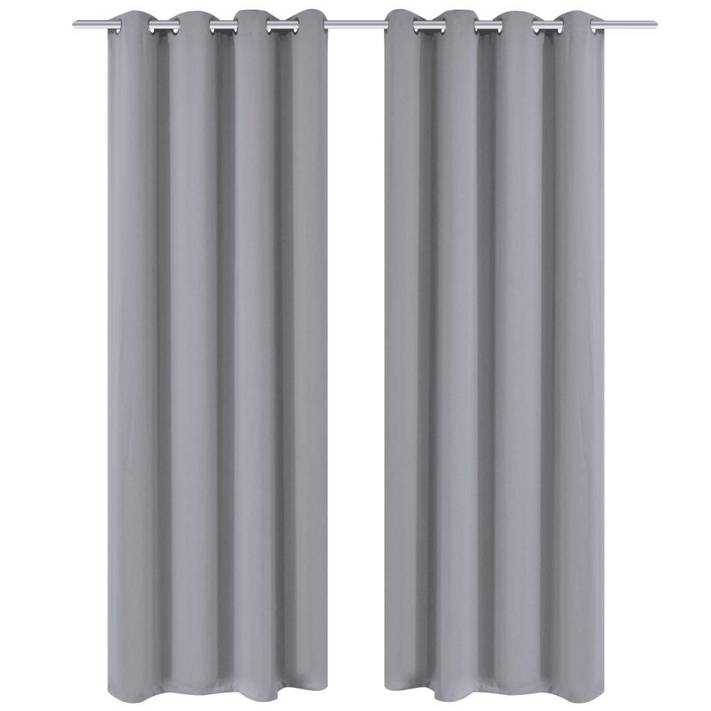 2 ks šedé zatemňovací závěsy s kovovými kroužky | 135x245 cm