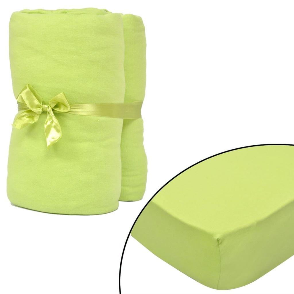 2 ks - zelená elastická prostěradla | 180x200-200x220cm