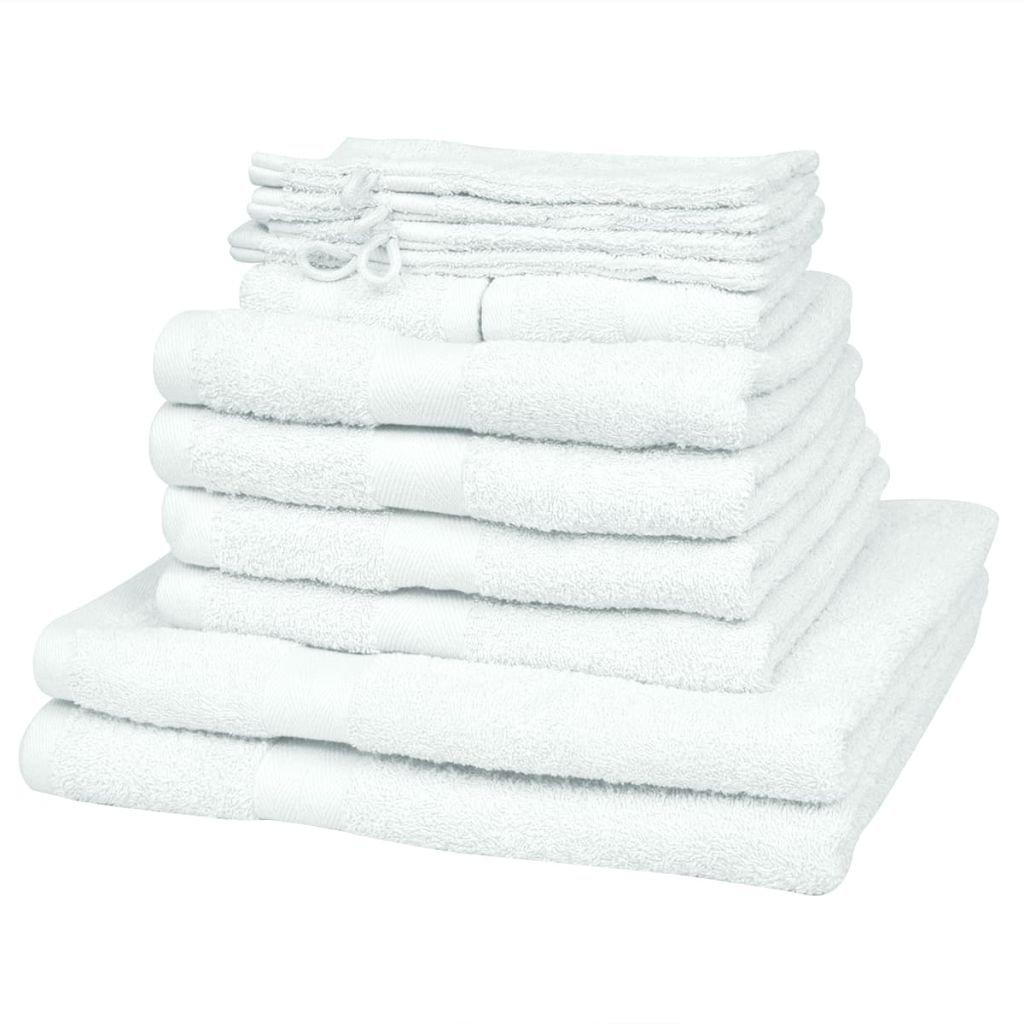 Sada ručníků a osušek 12 ks - bavlna - 500 g/m² | bílá
