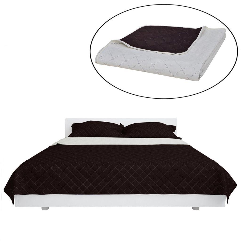 Oboustranný prošívaný přehoz na postel - béžovo-hnědý | 230x260 cm