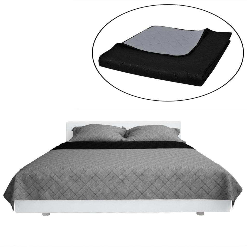 Oboustranný přehoz na postel - černo-šedý | 220x240 cm