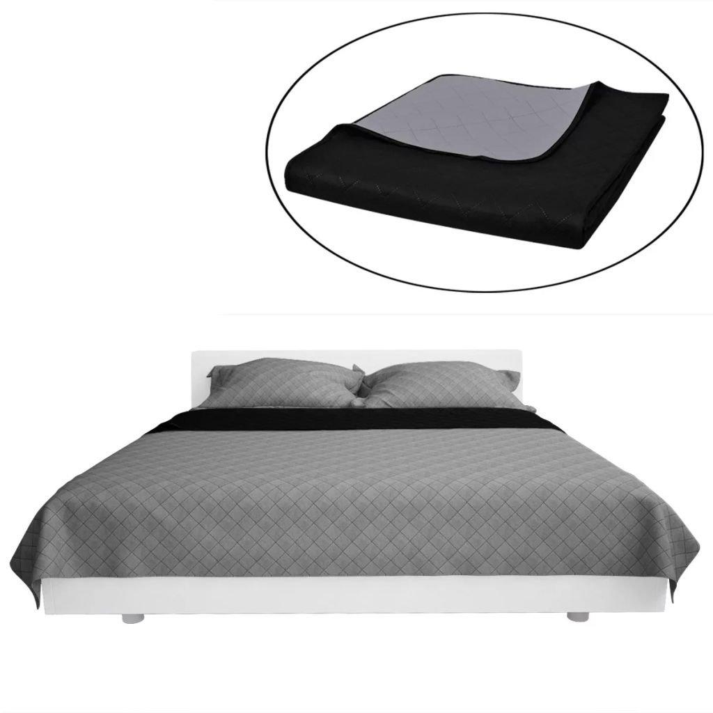 Oboustranný prošívaný přehoz na postel - černo-šedý | 230x260 cm