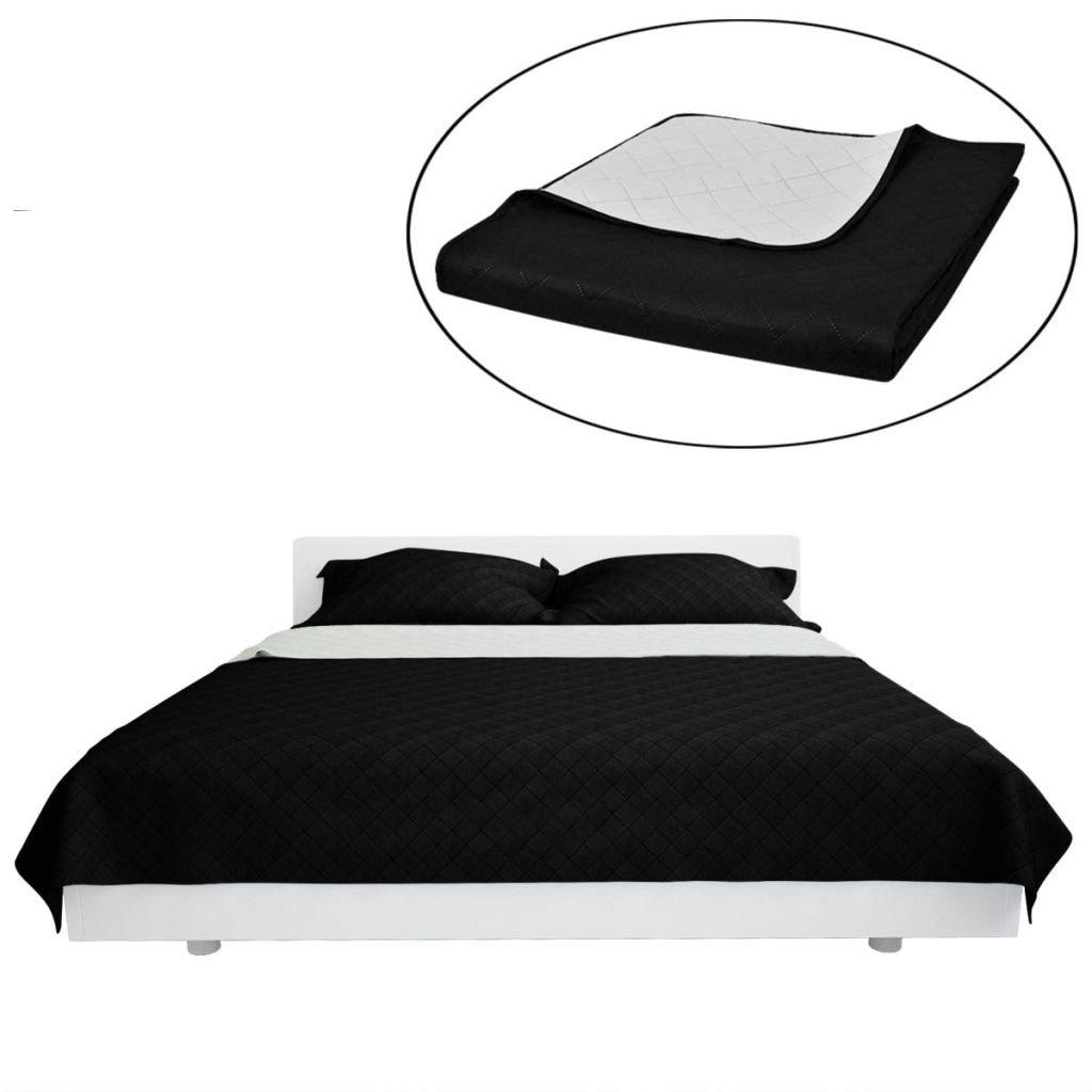 Oboustranný prošívaný přehoz na postel - černobílý | 170x210 cm