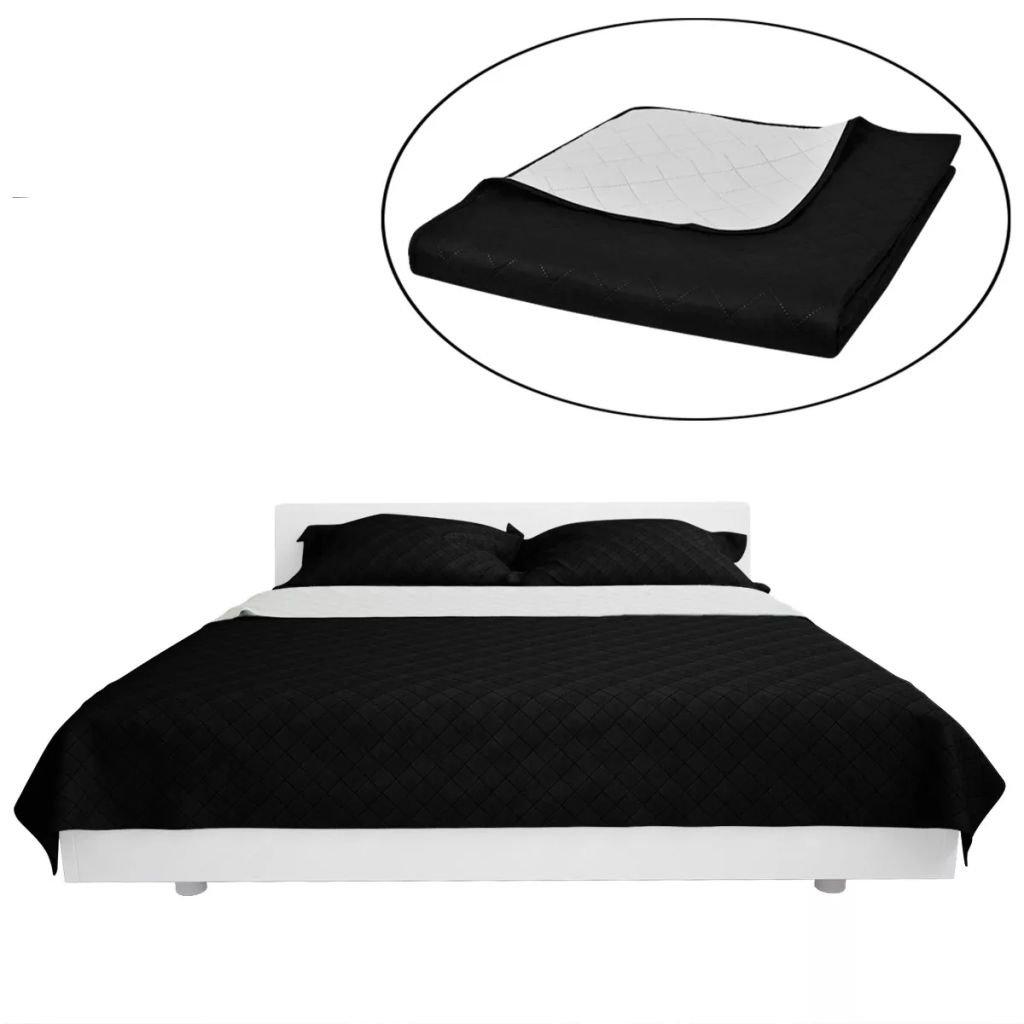 Oboustranný prošívaný přehoz na postel - černobílý | 230x260 cm