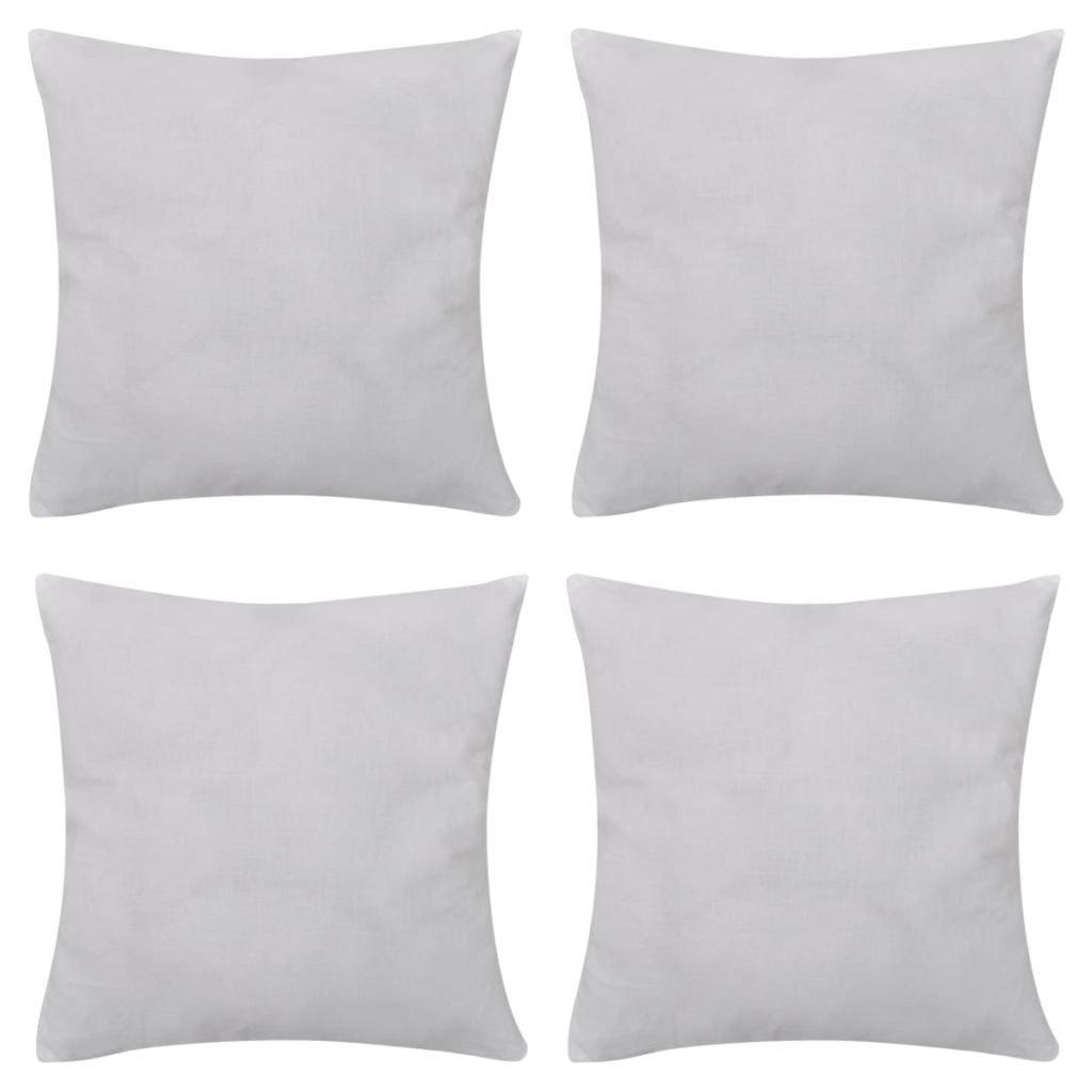 4 bílé povlaky na polštářky - bavlna | 40x40 cm