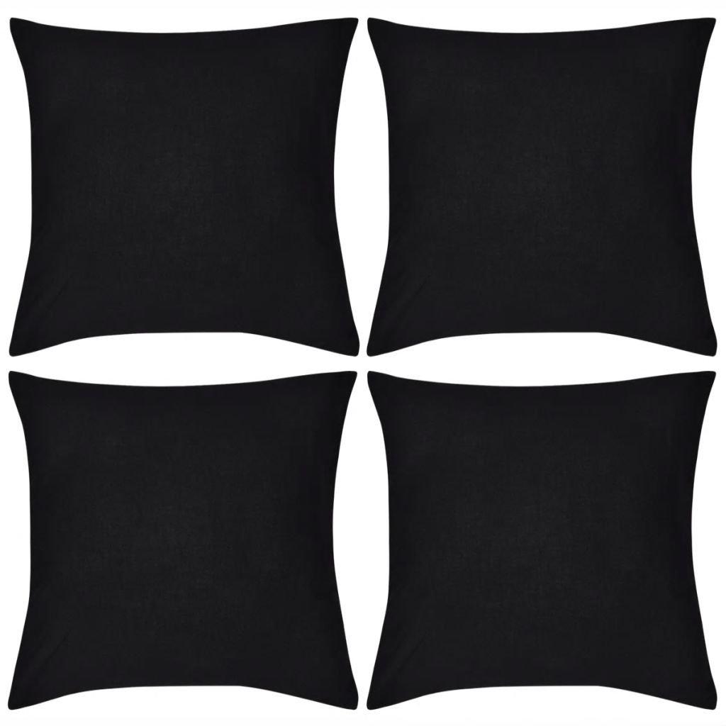 4 černé povlaky na polštářky - bavlna | 40x40 cm
