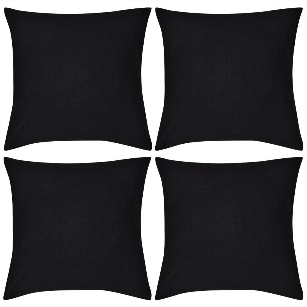 4 černé povlaky na polštářky - bavlna | 50x50 cm