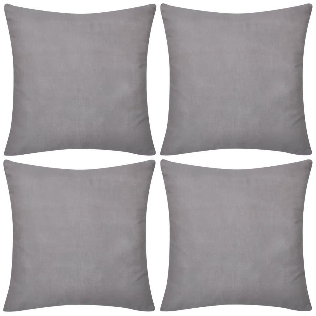 4 šedé povlaky na polštářky | 40x40 cm