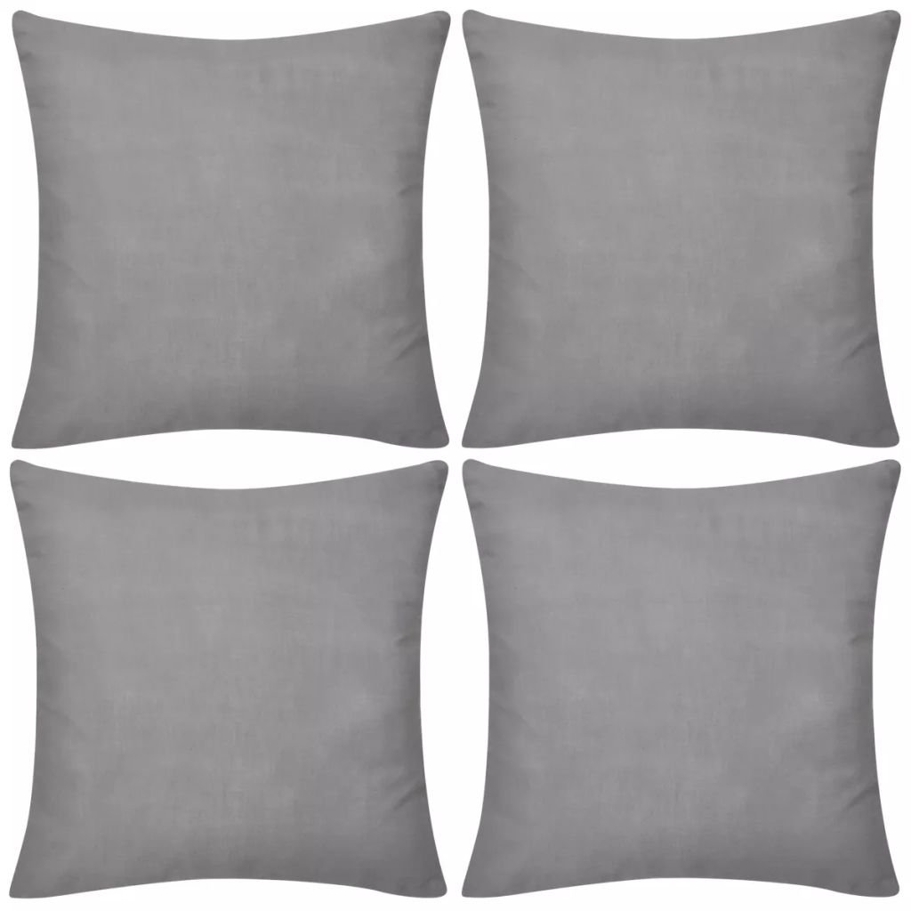 4 šedé povlaky na polštářky | 50x50 cm