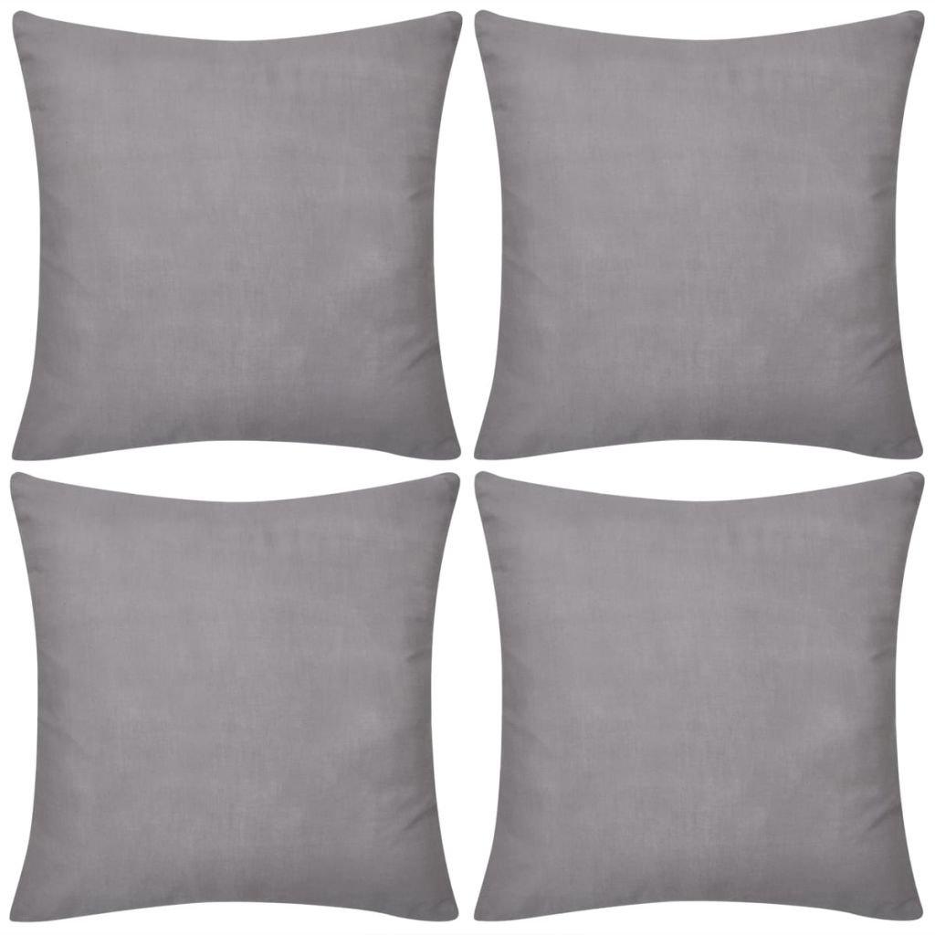 4 šedé povlaky na polštářky - bavlna | 80x80 cm