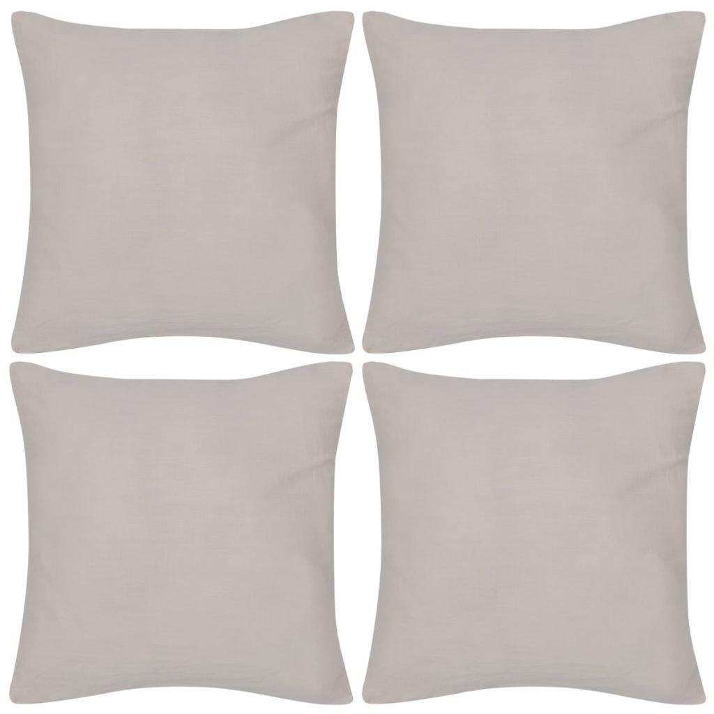 4 béžové potahy na polštářky - bavlna | 40x40 cm