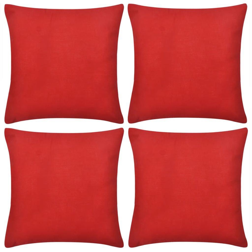 4 červené povlaky na polštářky | 40x40 cm