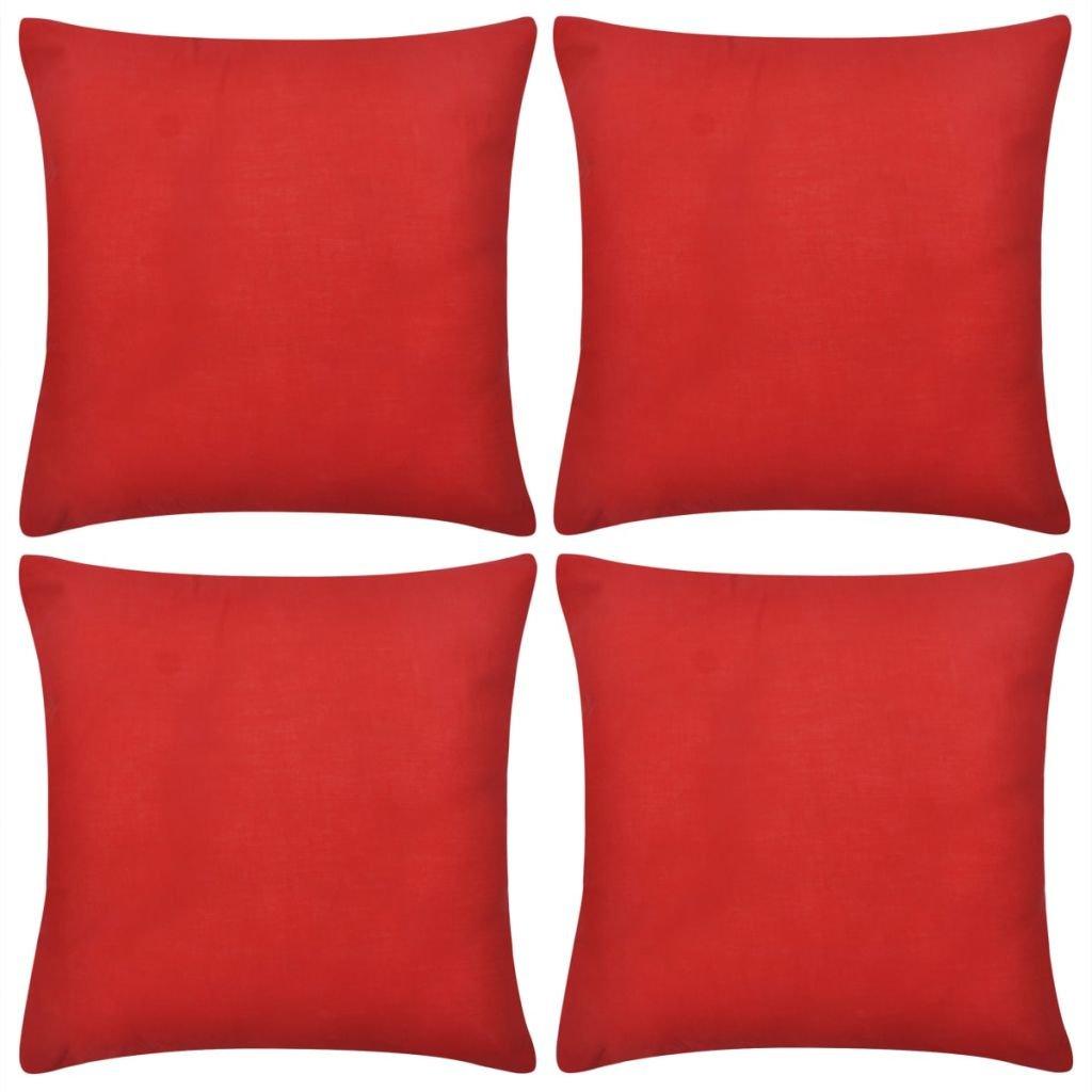 4 červené povlaky na polštářky - bavlněné | 80x80 cm