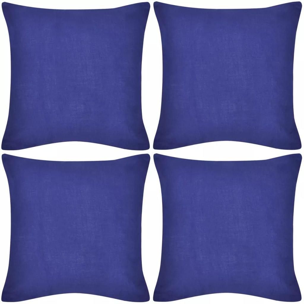 4 modré povlaky na polštářky - bavlna | 40x40 cm